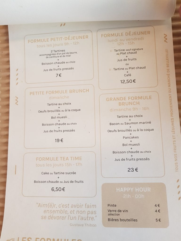 Aimé Ménilmontant Menu Brunch