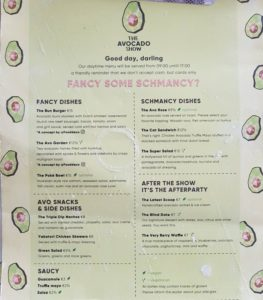 Avocado show Amsterdam menu