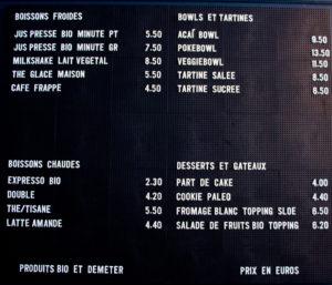 Menu et prix SLOE Paris