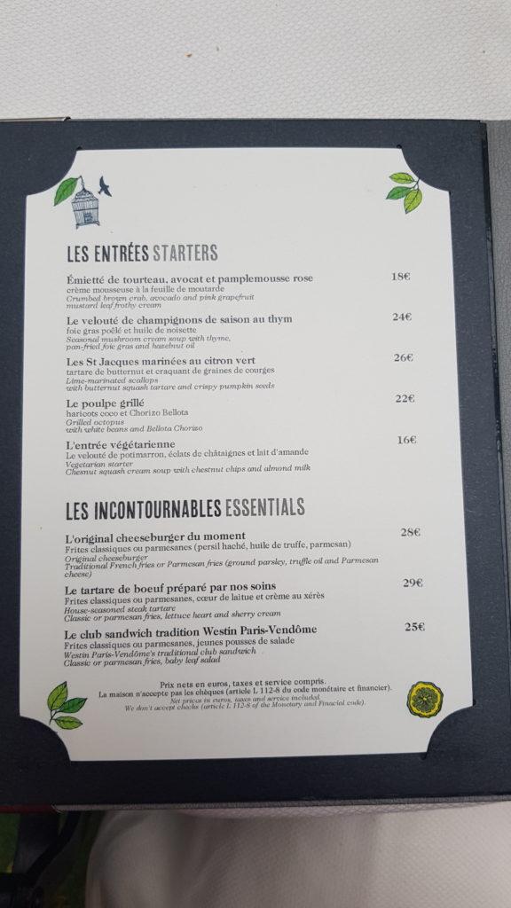 Menu Jardin d'hiver Westin Paris Vendôme