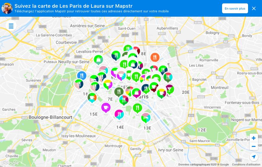 Carte Mapstr bonnes adresses paris