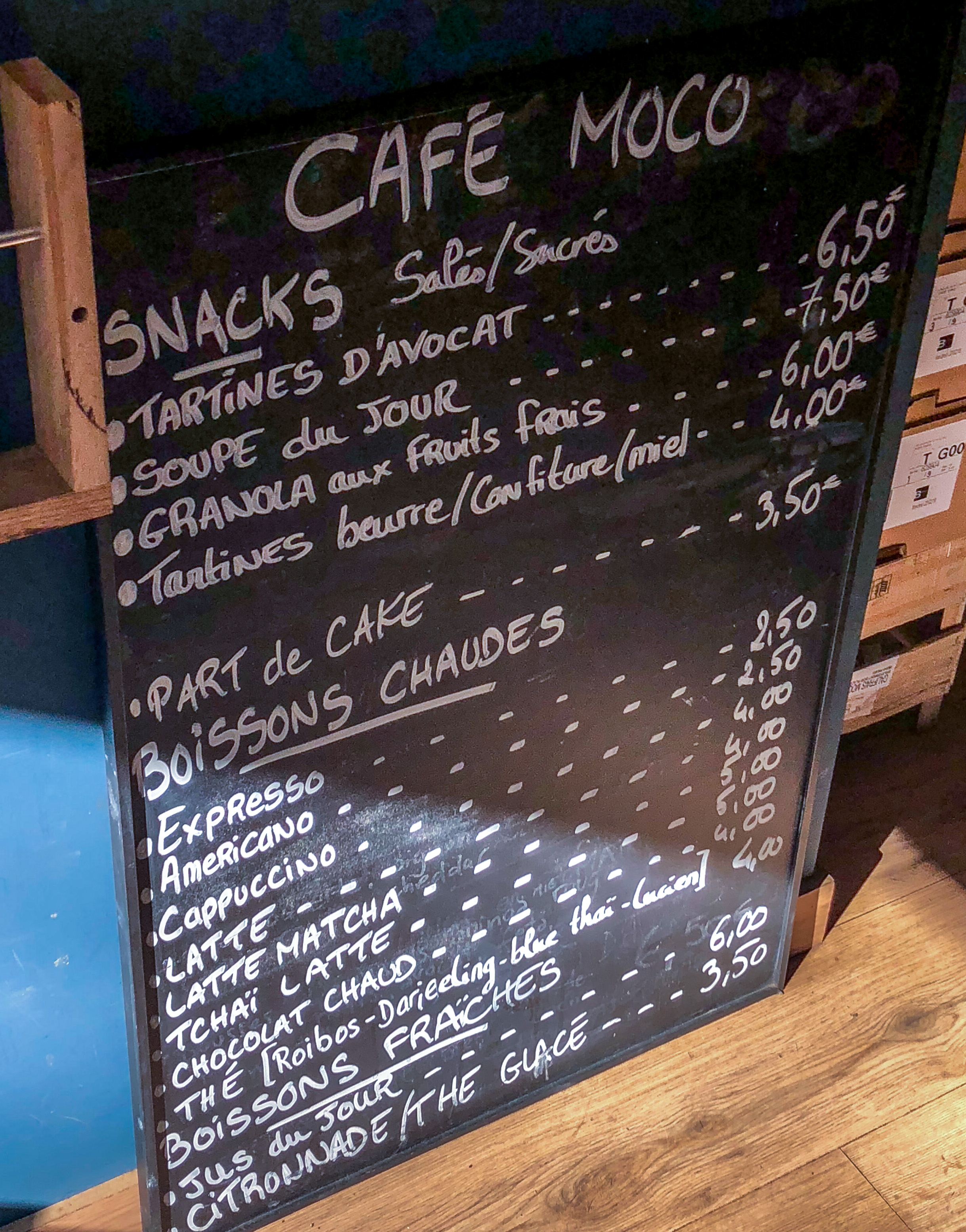 Menu Prix Café Moco Paris 11