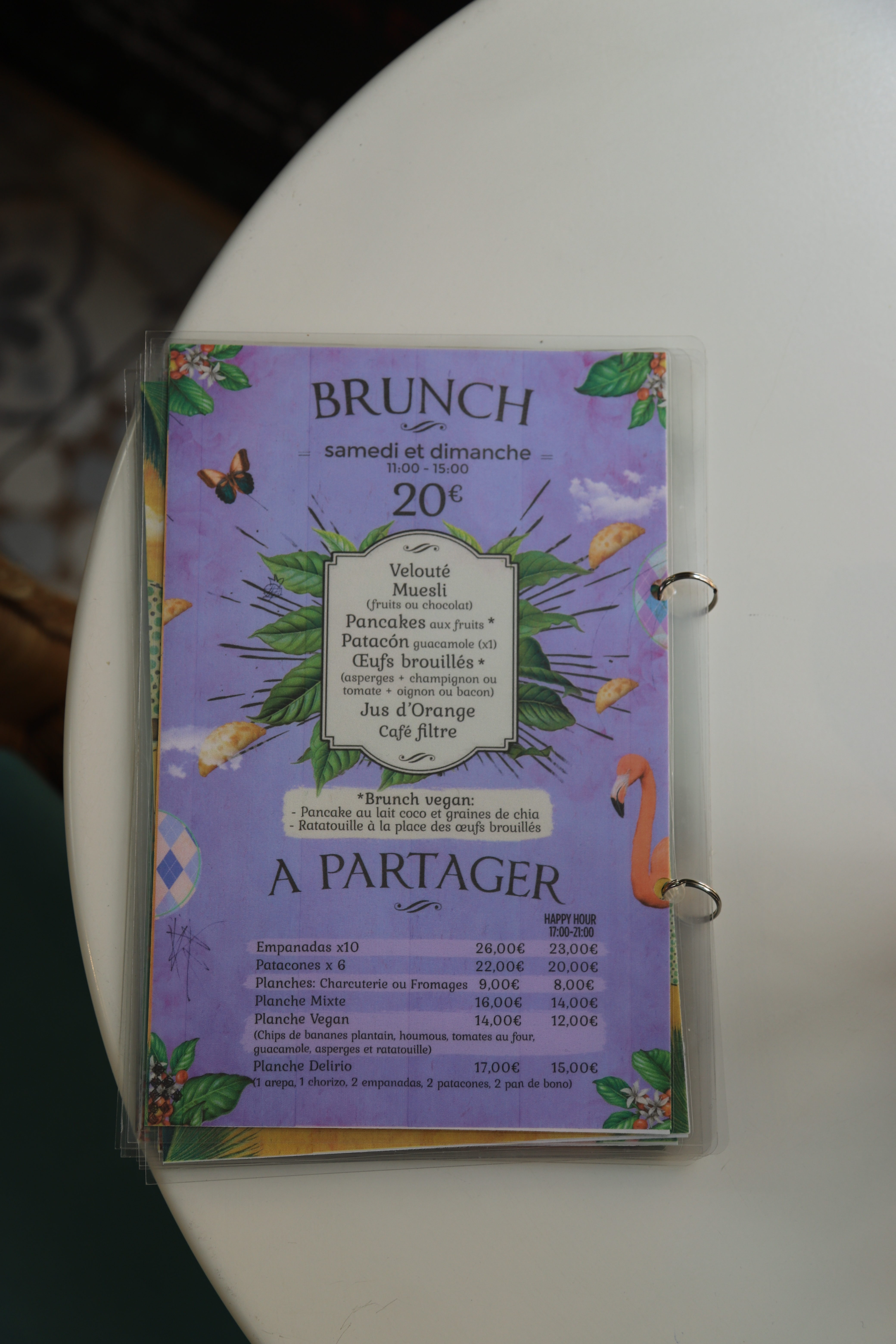 Menu Prix Délirio Brunch Paris