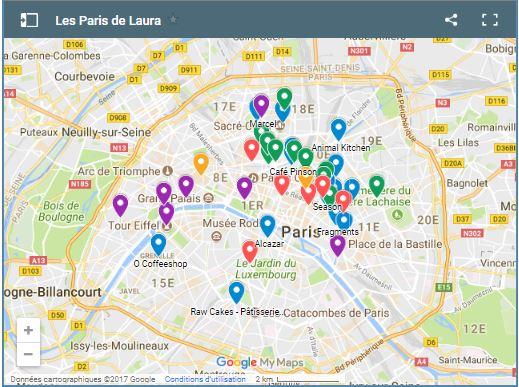 Cartes des Bonnes adresses à Paris