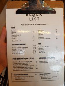 Menu Black List Bordeaux