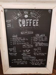 Menu boissons SIP coffee bar Bordeaux