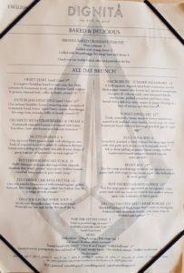 Dignita Amsterdam menu