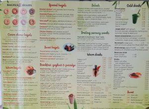 Bagels and beans Amsterdam menu