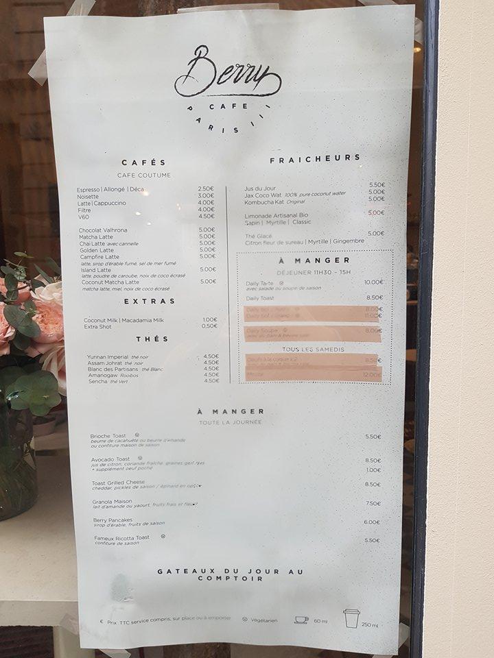 Menu Prix Café Berry Paris 3